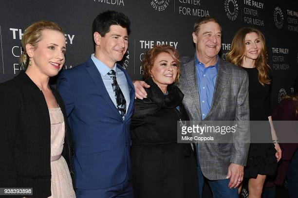 Actors Lecy Goranson Michael Fishman Roseanne Barr John Goodman and Sarah Chalke from the case of Roseanne attend The Paley Center For Media presents...