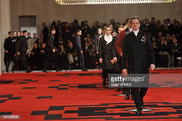 Actors led by Gary Oldman walk the runway during the Prada ready to Wear Fall/Winter 2012 - 2013 show as part of the Milan Men Fashion Week on...