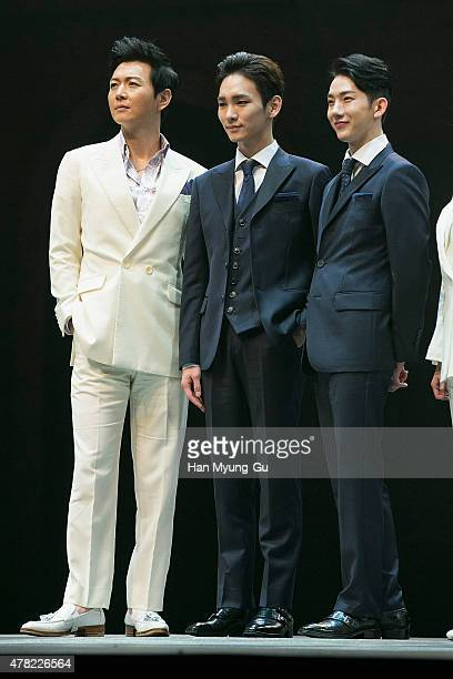 Actors Lee GunMyung Key of South Korean boy band SHINee and Jo Kwon of South Korean boy band 2AM attend the press call Musical 'CHESS' on June 23...