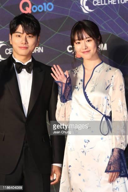Actors Lee Ikyung left and Karata Erika right attend the 2019 Mnet Asian Music Awards at Nagoya Dome on December 4 2019 in Nagoya Japan
