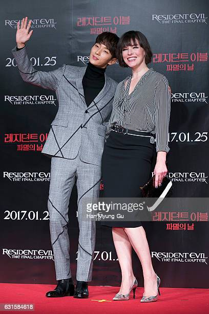 Actors Lee JunKi and Milla Jovovich attend the press conference for 'Resident Evil The Final Chapter' on January 13 2017 in Seoul South Korea The...