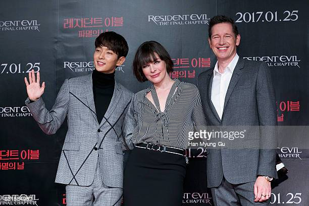 Actors Lee JunKi Milla Jovovich and director Paul W S Anderson attend the press conference for 'Resident Evil The Final Chapter' on January 13 2017...