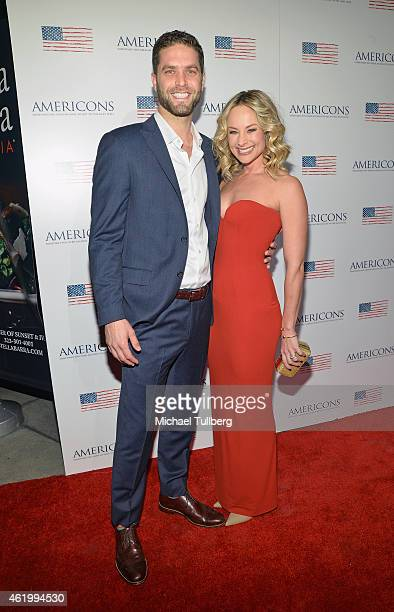 """Actors Lee Knaz and Alyshia Ochse attend a screening of the film """"Americons"""" at ArcLight Cinemas on January 22, 2015 in Hollywood, California."""