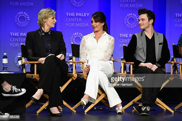 """Actors Lee Michele, Chris Colfer, Amber Riley on stage at The Paley Center For Media's 32nd Annual PALEYFEST LA - """"Glee"""" at Dolby Theatre on March..."""