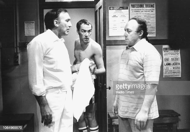 Actors Lee Montagu Robert Lindsay and Ken Jones in a scene from episode 'Round One' the television sitcom 'Seconds Out' September 20th 1980