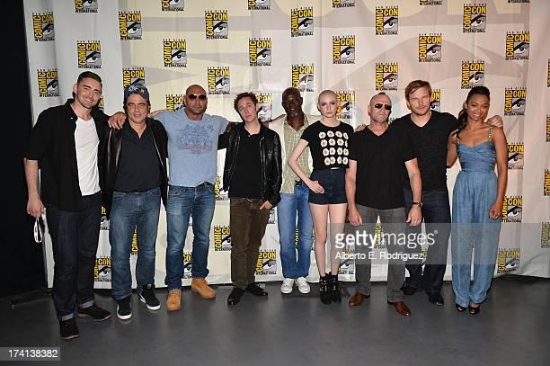Actors Lee Pace Benicio del Toro Dave Bautista James Gunn Djimon Hounsou Karen Gillan Michael Rooker Chris Pratt and Zoe Saldana attend Marvel's...