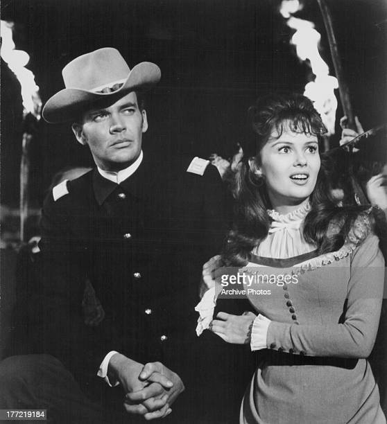 Actors Lee Remick and Jim Hutton in a scene from the movie 'Hallelujah Trail' 1965