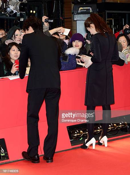 Actors Lee Sun Gyun and Jung Eun Chae attend the 'Nobody's Daughter Haewon' Premiere during the 63rd Berlinale International Film Festival at...