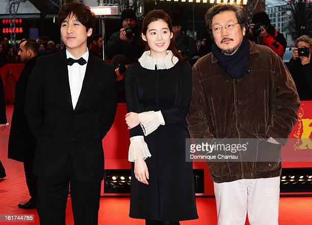 Actors Lee Sun Gyun Jung Eun Chae and director Hong Sangsoo attend the 'Nobody's Daughter Haewon' Premiere during the 63rd Berlinale International...