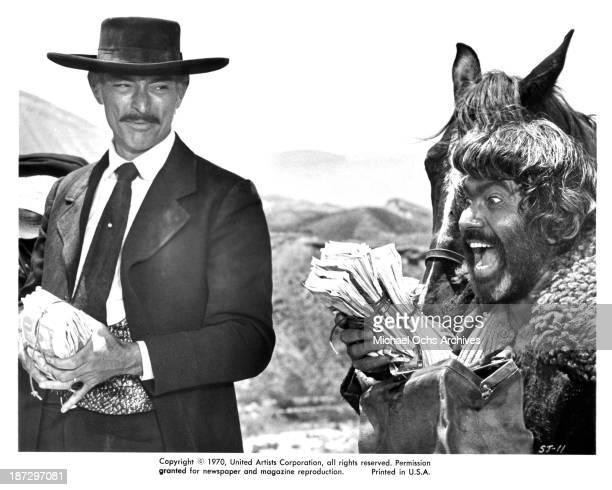 "Actors Lee Van Cleef and Ignazio Spalla on set of the United Artist movie ""Sabata"" in 1969."
