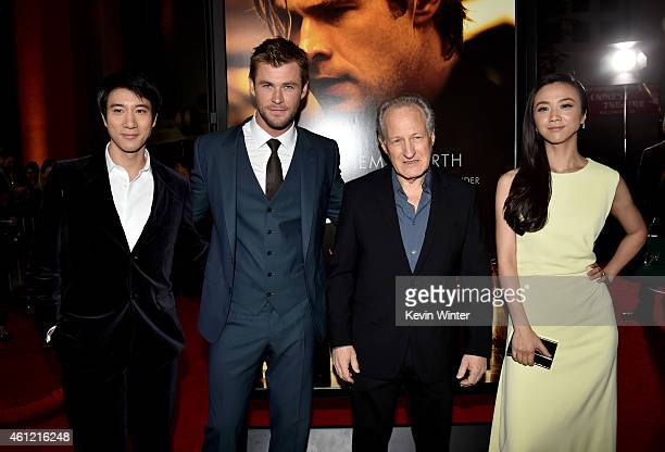 Actors Leehon Wang Chris Hemsworth director/producer Michael Mann and actress Tang Wei arrive at the premiere of Universal Pictures and Legendary...