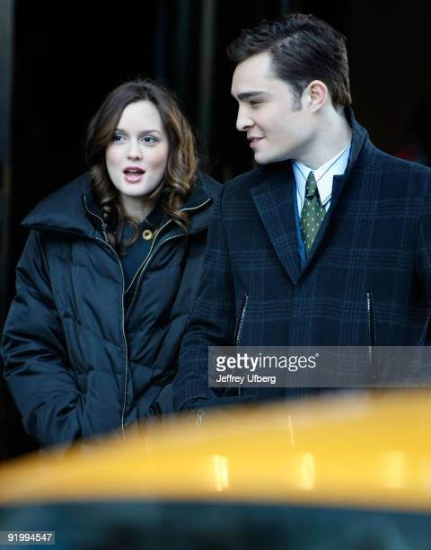 Actors Leighton Meester and Ed Westwick filming on location for 'Gossip Girl' on the streets of Manhattan on October 19 2009 in New York City
