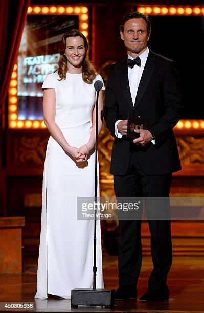 Actors Leighton Meester and Tony Goldwyn speak onstage during the 68th Annual Tony Awards at Radio City Music Hall on June 8 2014 in New York City