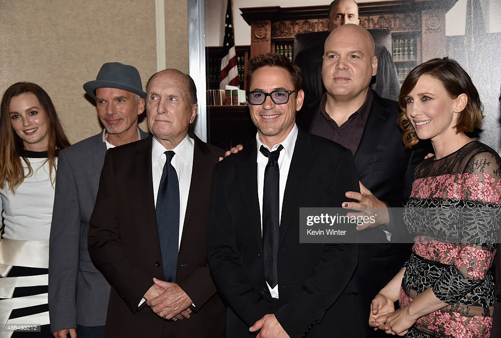 Actors Leighton Meester, Billy Bob Thornton, Robert Duvall, executive producer/actor Robert Downey Jr., and actors Vincent D'Onofrio and Vera Farmiga attend the Premiere of Warner Bros. Pictures and Village Roadshow Pictures' 'The Judge' at AMPAS Samuel Goldwyn Theater on October 1, 2014 in Beverly Hills, California.