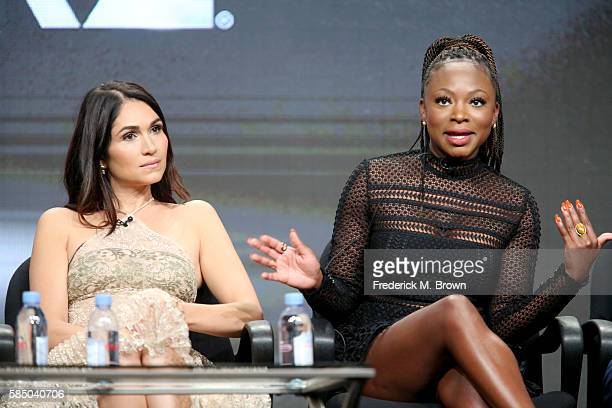 Actors Lela Loren and Naturi Naughton speak onstage during the 'Power' panel discussion at the Starz portion of the 2016 Television Critics...