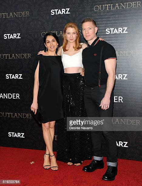 Actors Lela Loren Lucy Walters and Joseph Sikora Menzies attend 'Outlander' Season Two World Premiere at American Museum of Natural History on April...