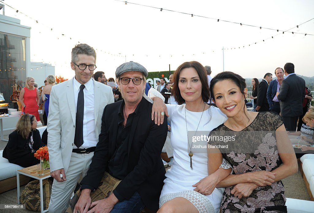 Actors Leland Orser, Rhys Ifans, Michelle Forbes and Tamlyn Tomita of 'Berlin Station' attend the EPIX TCA presentation at The Beverly Hilton Hotel on July 30, 2016 in Beverly Hills, California.