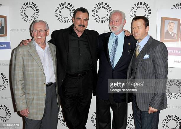 Actors Len Cariou Tom Selleck Leonard Goldberg and Donnie Wahlberg attend the Blue Bloods Screening at The Paley Center for Media on September 22...