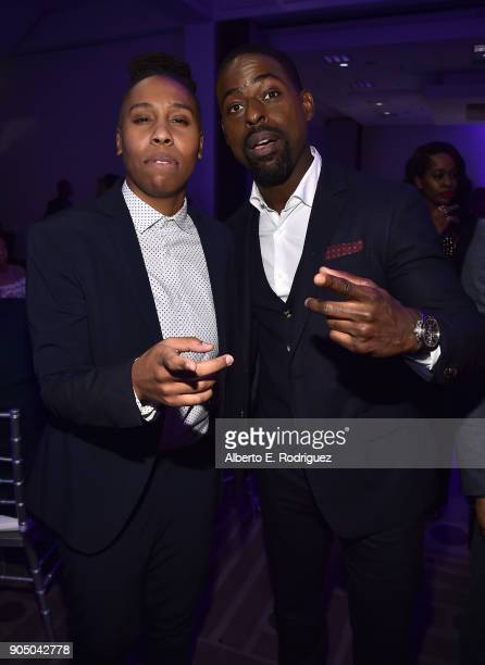Actors Lena Waithe and Sterling K Brown attend the 49th NAACP Image Awards NonTelevised Award Show at The Pasadena Civic Auditorium on January 14...