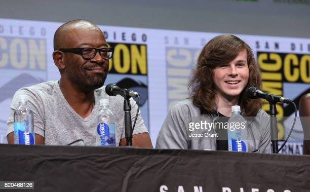 Actors Lennie James and Chandler Riggs from 'The Walking Dead' at the Hall H panel with AMC at San Diego ComicCon International 2017 at the San Diego...