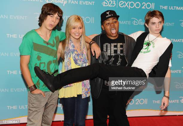 Actors Leo Howard Olivia Holt Alex Jones and Dylan Riley Snyder attend Day 2 of Disney's D23 Expo 2011 at the Anaheim Convention Center on August 20...