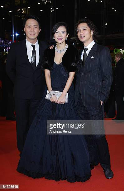 Actors Leon Lai Zhang Ziyi and Ando Masanobu attend the premiere for 'Forever Enthralled' as part of the 59th Berlin Film Festival at the Grand Hyatt...