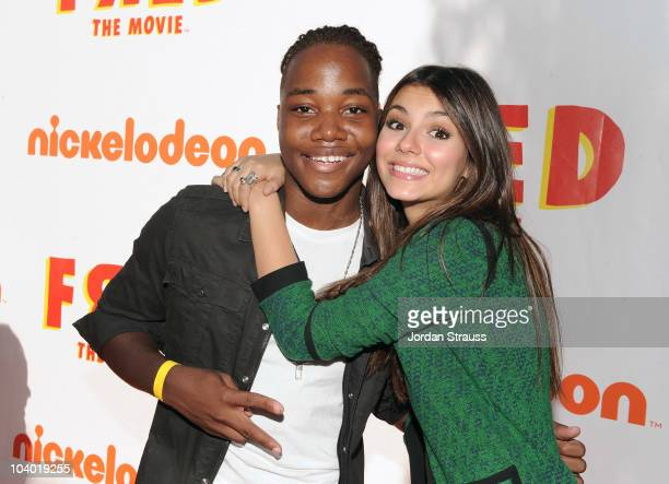 Actors Leon Thomas and Victoria Justice attend Nickelodeon's 'Fred The Movie' premiere screening event at Paramount Theater on September 11 2010 in...