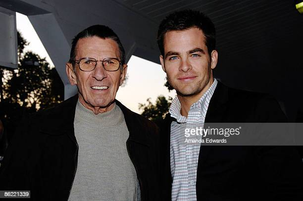 Actors Leonard Nimoy and Chris Pine attend the 19th Annual Hollywood Charity Horse Show at the Los Angeles Equestrian Center on April 25 2009 in...