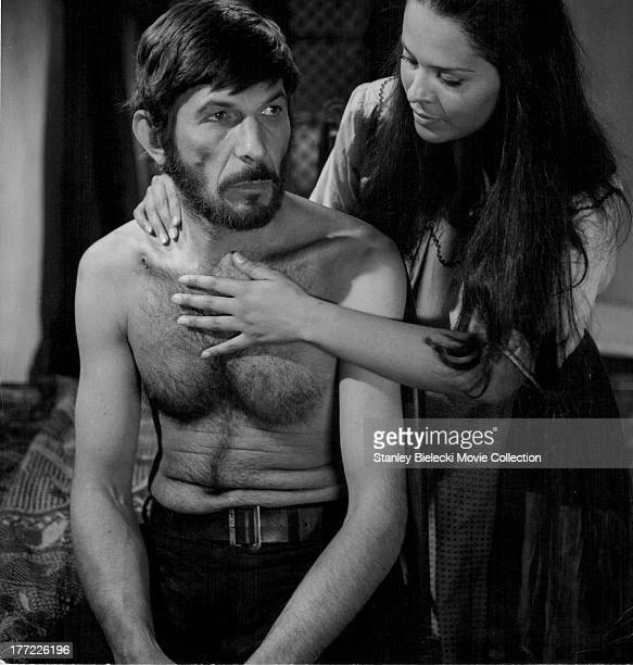 Actors Leonard Nimoy and Erica Lopez, in a scene from the movie 'Catlow', 1971.
