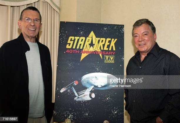 """Actors Leonard Nimoy and William Shatner promote the """"Star Trek"""" 40th Anniversary on the TV Land network at the Four Seasons hotel August 9, 2006 in..."""