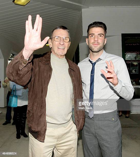 Actors Leonard Nimoy and Zachary Quinto attend the 19th Annual 'Hollywood Charity Horse Show' at the Los Angeles Equestrian Center on April 25, 2009...