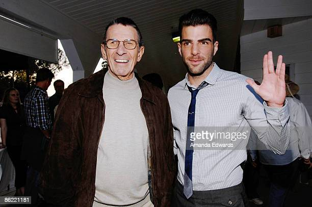 Actors Leonard Nimoy and Zachary Quinto attend the 19th Annual Hollywood Charity Horse Show at the Los Angeles Equestrian Center on April 25 2009 in...