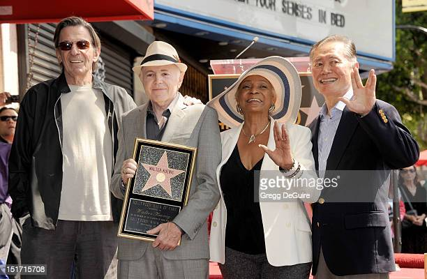Actors Leonard Nimoy, Walter Koenig, Nichelle Nichols and George Takei pose as Walter Koenig is honored with a star on the Hollywood Walk of Fame on...