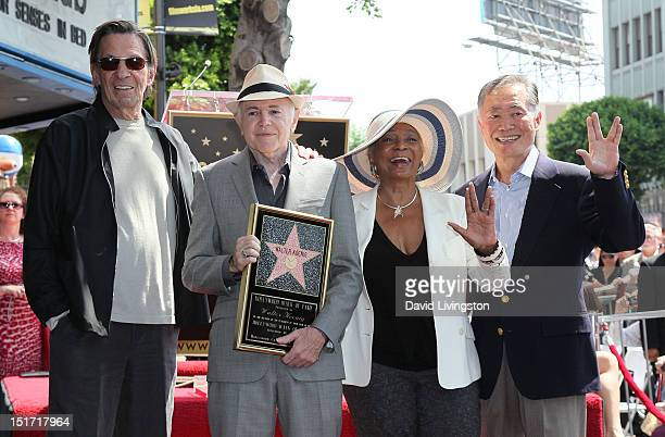 Actors Leonard Nimoy, Walter Koenig, Nichelle Nichols and George Takei attend Koenig being honored with a star on the Hollywood Walk of Fame on...