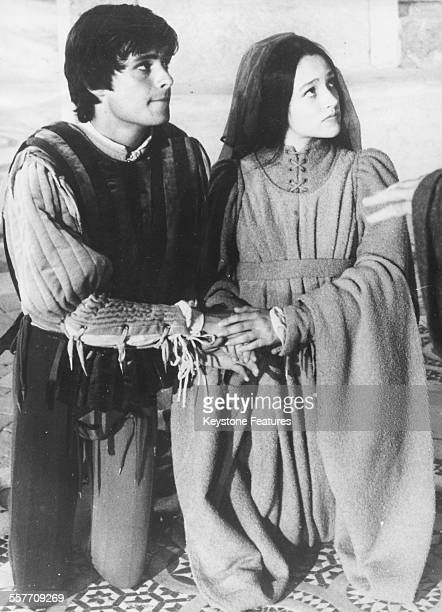 Actors Leonard Whiting and Olivia Hussey filming the wedding scene of the Franco Zeffeirelli film 'Romeo and Juliet' in an ancient Etruscan church in...