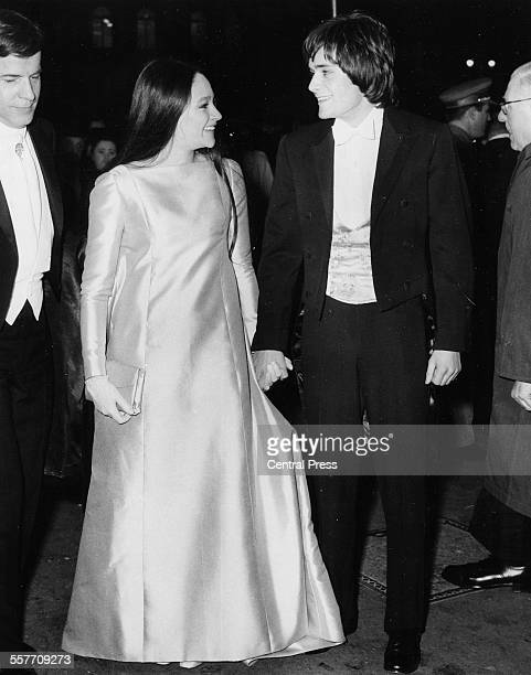 Actors Leonard Whiting and Olivia Hussey stars of the Franco Zeffeirelli film 'Romeo and Juliet' attending the premiere of the film at the Odeon in...
