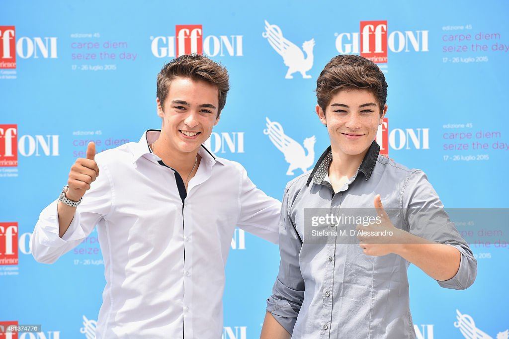 Actors Leonardo Cecchi and Federico Russo attend Giffoni Film Festival 2015 photocall on July 20, 2015 in Giffoni Valle Piana, Italy.