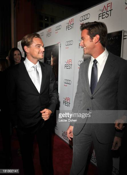 """Actors Leonardo DiCaprio and Armie Hammer arrive at the AFI Fest 2011 Opening Night Gala World Premiere Of """"J. Edgar"""" at Grauman's Chinese Theatre on..."""