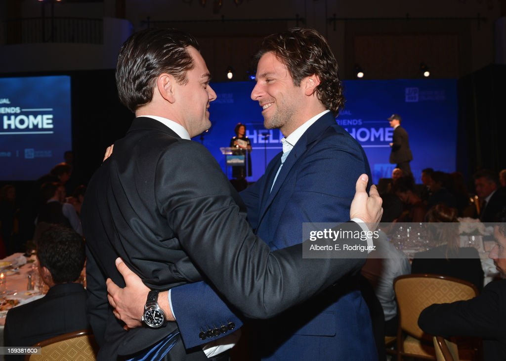 Actors Leonardo DiCaprio (L) and Bradley Cooper attend the 2nd Annual Sean Penn and Friends Help Haiti Home Gala benefiting J/P HRO presented by Giorgio Armani at Montage Hotel on January 12, 2013 in Los Angeles, California.