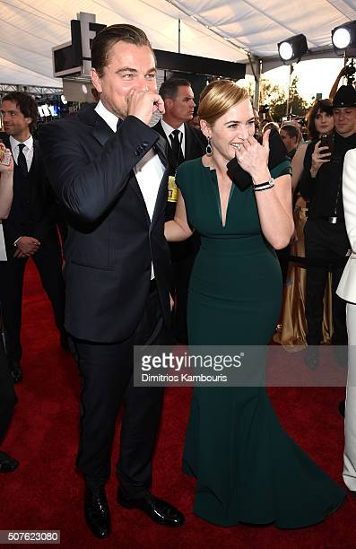 Actors Leonardo DiCaprio and Kate Winslet attend The 22nd Annual Screen Actors Guild Awards at The Shrine Auditorium on January 30 2016 in Los...