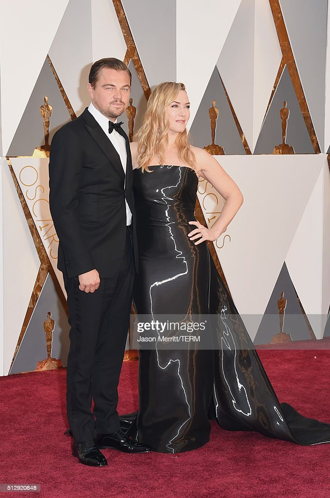 Actors Leonardo DiCaprio (L) and Kate Winslet attend the 88th Annual Academy Awards at Hollywood & Highland Center on February 28, 2016 in Hollywood, California.