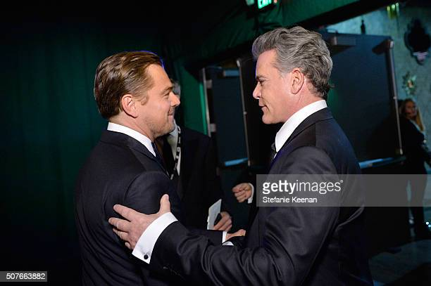 Actors Leonardo DiCaprio and Ray Liotta attend The 22nd Annual Screen Actors Guild Awards at The Shrine Auditorium on January 30 2016 in Los Angeles...