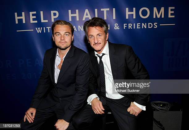 Actors Leonardo DiCaprio and Sean Penn attend the Cinema For Peace event benefitting J/P Haitian Relief Organization in Los Angeles held at Montage...