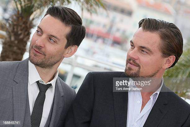 Actors Leonardo DiCaprio and Tobey Maguire attend the photocall for 'The Great Gatsby' at The 66th Annual Cannes Film Festival at Palais des...