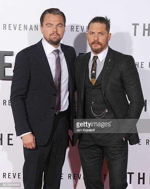Actors Leonardo DiCaprio and Tom Hardy arrive at the Los Angeles Premiere 'The Revenant' at TCL Chinese Theatre on December 16 2015 in Hollywood...