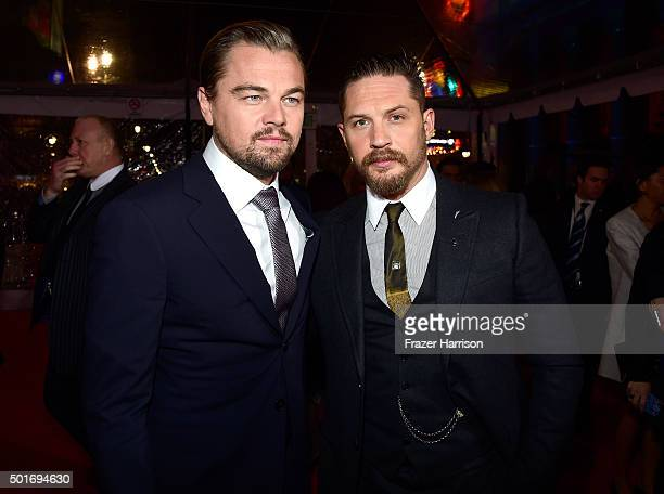 Actors Leonardo DiCaprio and Tom Hardy attend the premiere of 20th Century Fox and Regency Enterprises' The Revenant at the TCL Chinese Theatre on...
