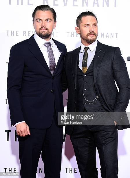 """Actors Leonardo DiCaprio and Tom Hardy attend the premiere of 20th Century Fox and Regency Enterprises' """"The Revenant"""" at the TCL Chinese Theatre on..."""