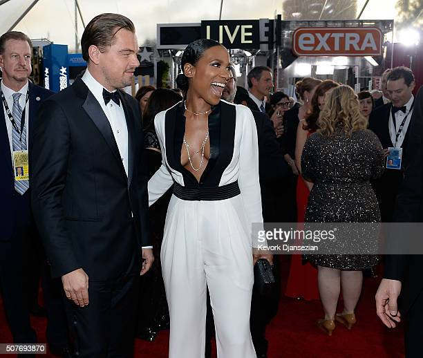 Actors Leonardo DiCaprio and Vicky Jeudy attend the 22nd Annual Screen Actors Guild Awards at The Shrine Auditorium on January 30 2016 in Los Angeles...