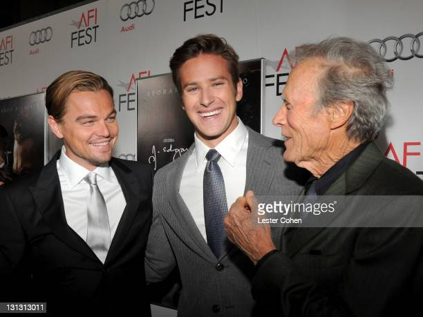 """Actors Leonardo DiCaprio, Armie Hammer and Director Clint Eastwood arrive at the AFI Fest 2011 Opening Night Gala World Premiere Of """"J. Edgar"""" at..."""