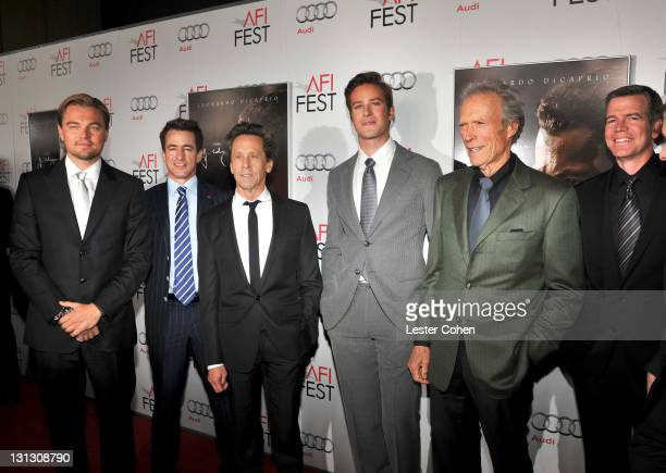 Actors Leonardo DiCaprio, Dermot Mulroney, producer Brian Grazer, actor Armie Hammer, director Clint Eastwood and producer Robert Lorenz arrive at...